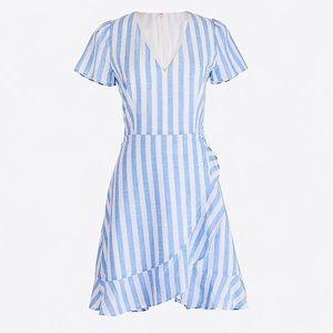 J Crew Light Blue Striped Wrap Dress